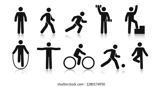 Stick figure sports. Posture stickman. People sport icons set. Man in different poses and positions, doing exercises. Black silhouette. Simple cute modern design. Flat style vector illustration.