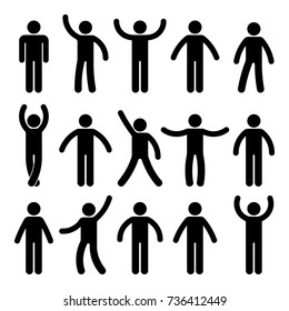Stick figure standing position. Posing person icon posture symbol sign pictogram on white