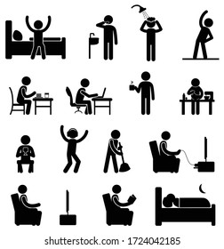 Stick figure stay home routine social distancing schedule