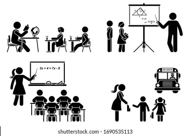 Stick figure teacher, school boy, girl, study, learning black silhouette vector icon pictogram. Lecturer at classroom teaching children primary, elementary, preschool education set