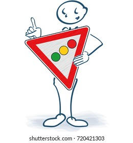 Stick figure with a traffic light sign in front of the body