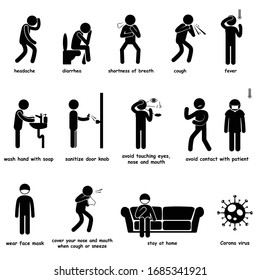 Stick Figure Virus Outbreak Pandemic Symptoms and Precaution