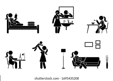 Stick figure woman everyday life time activities vector illustration icon set. Read book, do makeup, eat, sit at desk, work, study, play with child, use laptop on sofa pictogram