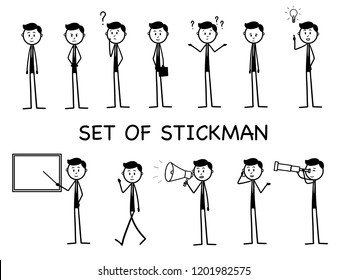 Stick figure working in office  presentation,stickman happy,man walking, confused, with phone, suitcase, sad, man idea, stickman megaphone, stickman with board, angry, Man looking through telescope
