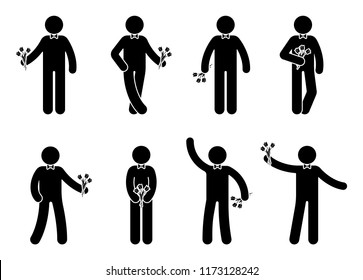 Stick figure young man with flowers icon set. Male standing with bouquet on white