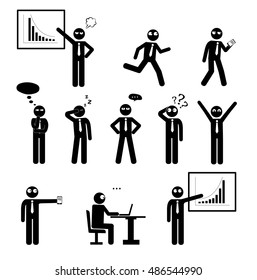 Stick figures business man set. Pictogram Icons of human poses