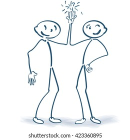 Stick figures clapping hands together and friendship