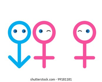 stick figures as couple by female