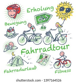 Stick figures cycling holidays and bike tour, Letters with Fahrradtour, Erholung, Bewegung, Fittness, Fahrradurlaub, means bicycle tour, recreation, exercise, fitness, cycling holidays