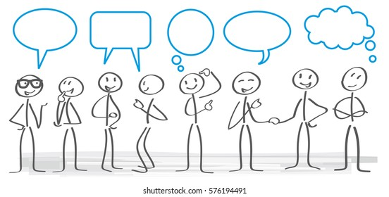 stick figures with dialog speech bubbles