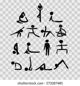 Stick figures in different yoga poses created by dry brush. Grunge calligraphy style. Vector illustration.