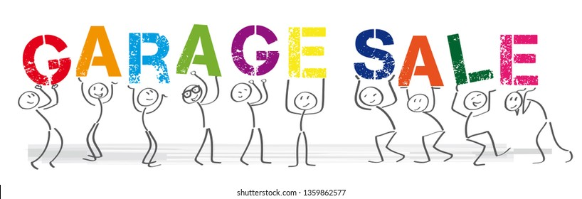 Stick figures holding the word garage sale. Vector banner with the text welcome