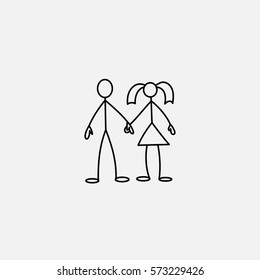 Stick figures in love icon vector