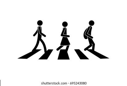 Stick figures, people pedestrians walk across the road on a pedestrian crossing