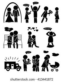 stick figure acquaintance love family wedding のベクター画像素材