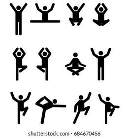 Stick figures set in yoga pose