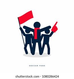 Stick figures of sport fans cheering team. vector