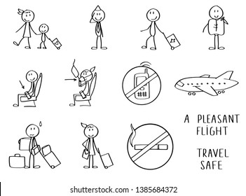 Stick figures symbolizing travel by airplane. Sitting in the chairs and showing safety rules. Also going or standing with bags and luggage. Includes a couple of rules signs on board.