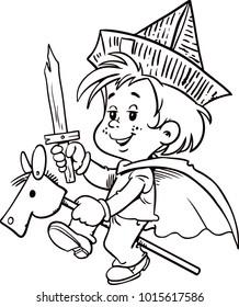 Stick horse toy. Cartoon vector illustration.Child play