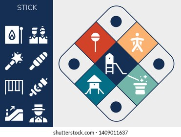 stick icon set. 13 filled stick icons.  Collection Of - Playground, Escalator, Magician, Swings, Skewer, Magic wand, Popsicle, Match, Friends, Wingsuit, Lollipop