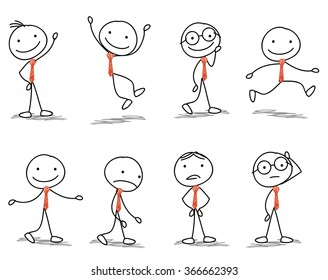 stick man with different poses of walking, jumping, thinking, running and standing