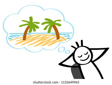 Stick man dreaming of tropical island, vacation, leaning back in office chair, smiling. Isolated on white background