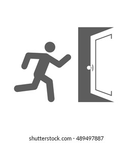 Stick man figure enters an open door vector icon design.