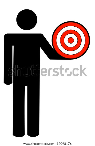 stick man or figure holding target in hand - vector