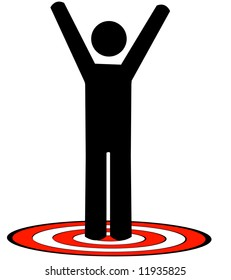 stick man or figure standing on red target with arms raised up - vector