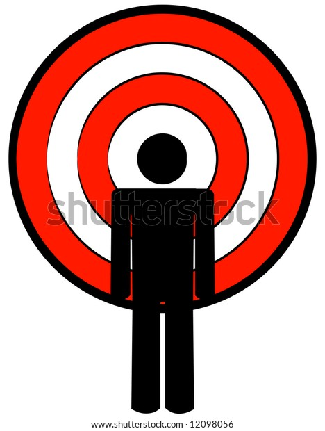 stick man or figure with target as a head - vector