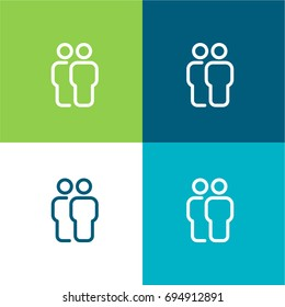 Stick man green and blue material color minimal icon or logo design