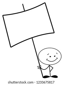 Stick man holding big blank sign with blank copy space
