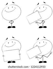 Stick man set with sign smiling and positive