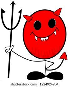 Stick man smiling devil vector cartoon