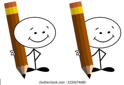 Stick man smiling and holding big pencil