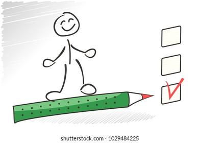 Stick man survey check box. Choice concept. Vector questionaire illustration