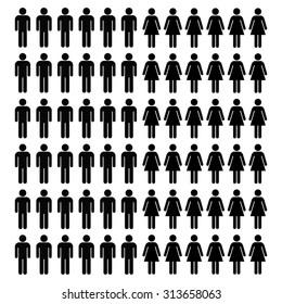 Stick man and woman icon set . Vector illustration