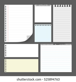 Stick note paper, sticker,note,label, art style with Color set Isolate on white  background  set of paper note blank frame for you design,vector design element  illustration