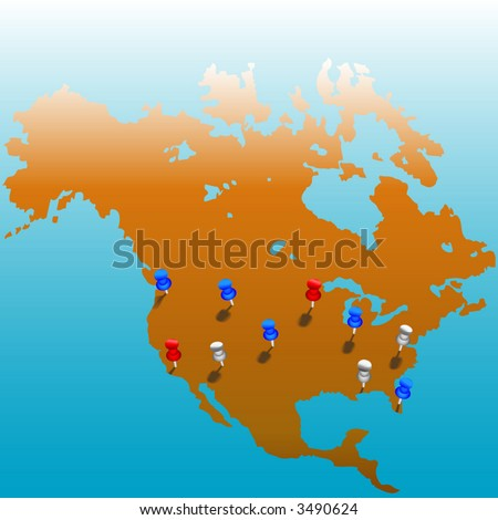 stick pins us map america color stock vector royalty free 3490624