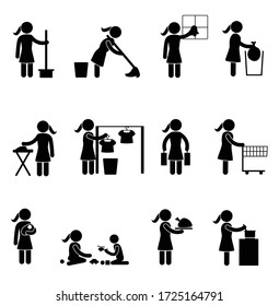 Stick woman stick figure house wife doing house chores