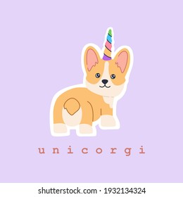 Sticker of adorable kawaii corgi unicorn with colourful rainbow horn, little magic pet dog with cute smiling face. Friendly standing puppy. Hand drawn trendy modern illustration in flat cartoon style