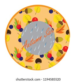 Sticker with autumn leaves, forest fruits, acorns and chestnuts. Autumn sale