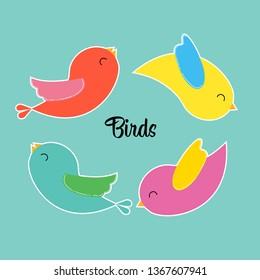Sticker birdies for printing