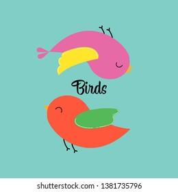 Sticker birdies for printing, sale