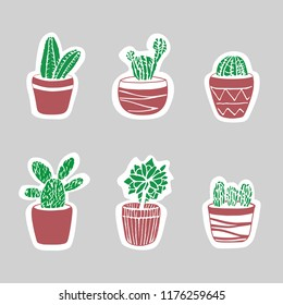 Sticker cacti set. Cute illustration for card and cover. vintage badges. Vector elements for patches, transfer, tatoo, atc