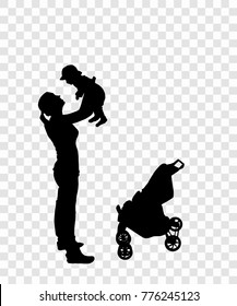 Sticker to car silhouette of mother with child. The Kid is in the car. Vector Illustration. EPS10