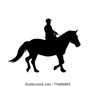 Sticker to car silhouette rider on horse. Expert in dressage of riding horses. Vector Illustration. EPS10