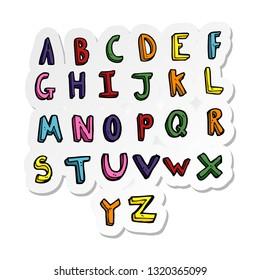 sticker of a cartoon alphabet