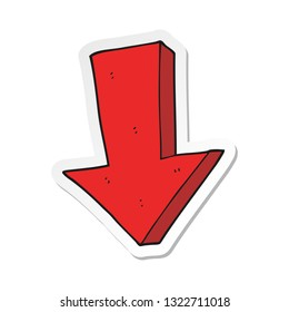 sticker of a cartoon arrow pointing down