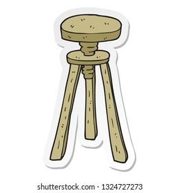 sticker of a cartoon artist stool